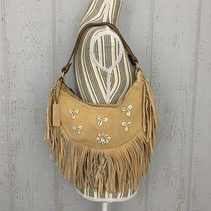 White and gold boho purse with fringe crossbody